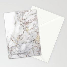 Champagne Rose Gold Blush Metallic Glitter Foil On Gray Marble Stationery Cards