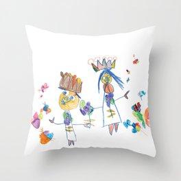 King, queen and butterflies Throw Pillow