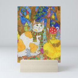 Cat, mice and birds on the table in autumn. Mini Art Print