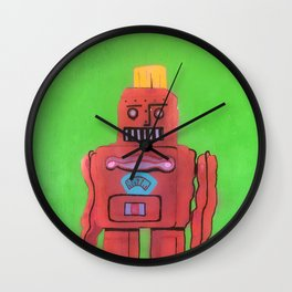 Little Toy Robot: red Wall Clock