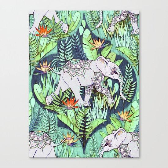 Little Elephant on a Jungle Adventure - faded vintage version Canvas Print