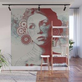 Ayil: Red Shadow | vintage lady portrait | zentangle mandala drawing Wall Mural