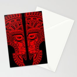 Red and Black Aztec Twins Mask Illusion Stationery Cards