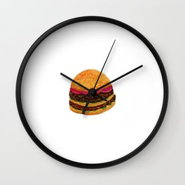 Watercolor hamburger Wall Clock
