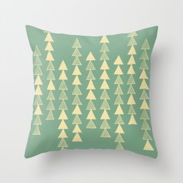 Triangle Trees - Green Throw Pillow