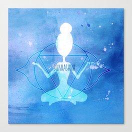Sukhasana 3 blue chakra Canvas Print