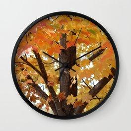 Orange Maple Tree Wall Clock