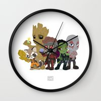 starlord Wall Clocks featuring Guarding the Galaxy by Nate Kelly