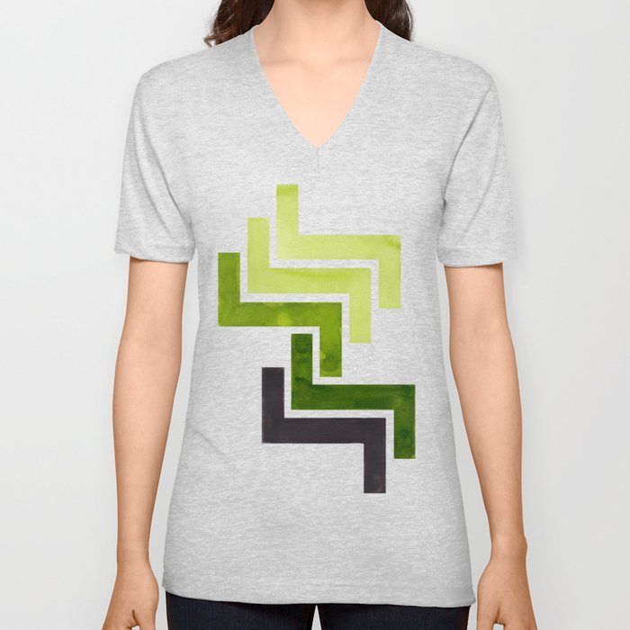 Sap Green Pattern Mid-century Modern Simple Geometric Pattern Watercolor Minimalist Art Squares Unisex V-Neck