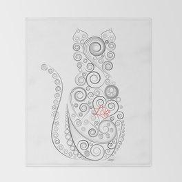 Black Cat on White World Throw Blanket