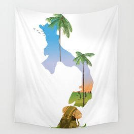 Panama map travel poster. Wall Tapestry