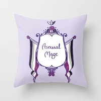 asexual Throw Pillows featuring Asexual Mage by armouredescort
