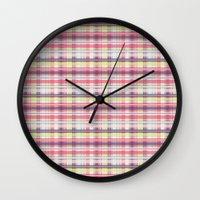 plaid Wall Clocks featuring Plaid by Livia Rett