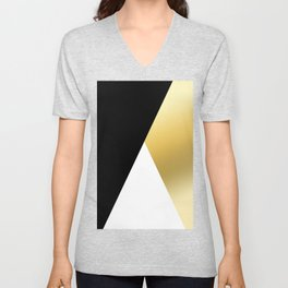 Elegant gold and black geometric design Unisex V-Neck