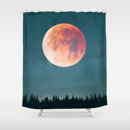 Blood Moon Over the Forest on a Starry Night Shower Curtain