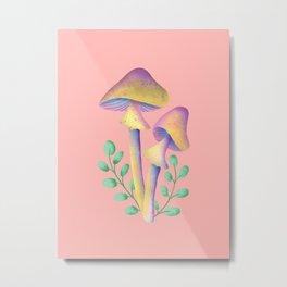 Magic Mushroom with leaves  Metal Print