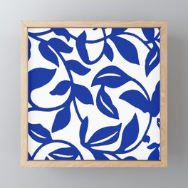 PALM LEAF VINE SWIRL BLUE AND WHITE PATTERN Framed Mini Art Print