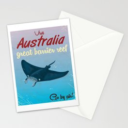 Australia great Barrier Reef Stingray vintage travel poster Stationery Cards