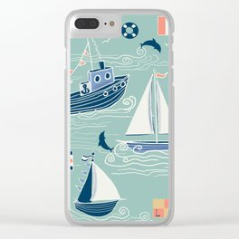 Nautical Sailing in Mint Clear iPhone Case