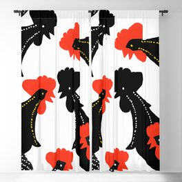 Black Roosters on White Background - Black Red White Color Palette Blackout Curtain
