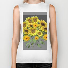 GREY YELLOW SUNFLOWER FIELD ART Biker Tank