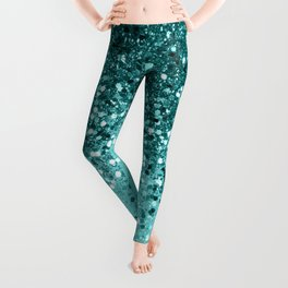 Tropical Blue Ocean Lady Glitter #1 #shiny #decor #art #society6 Leggings