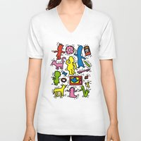 keith haring V-neck T-shirts featuring Keith Haring & Simpsons by le.duc