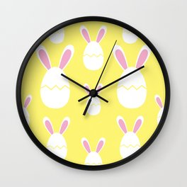 Happy Bunnies in Yellow | Easter Bunny | Easter Egg Bunny | pulps of wood Wall Clock