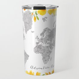Adventure awaits, gray watercolor world map with US state capitals and watercolor California poppies Travel Mug