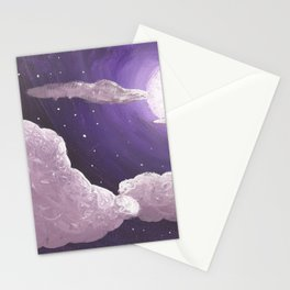 Purple Full Moon and Clouds Stationery Cards