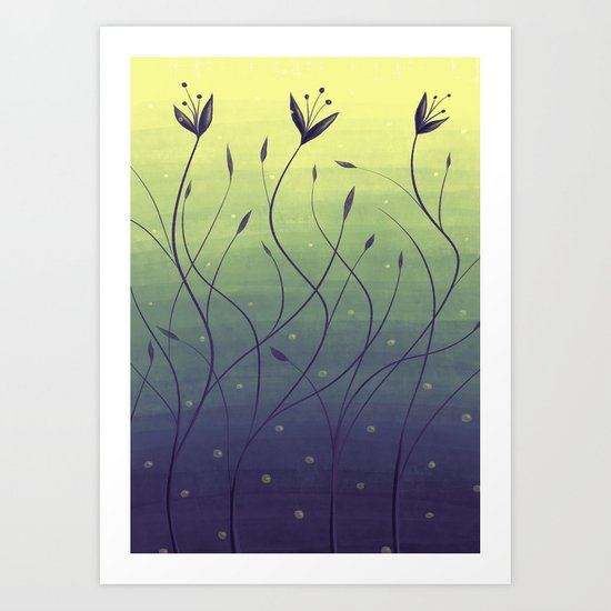 Purple Algae Plants In Green Water Art Print