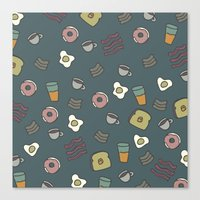 70s Canvas Prints featuring 70S Cafe by Calepotts