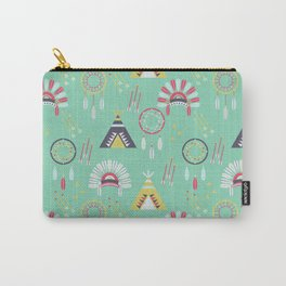 Indian Pattern Mint Carry-All Pouch