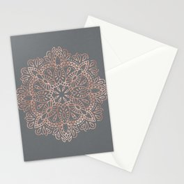Mandala Rose Gold Pink Shimmer on Soft Gray by Nature Magick Stationery Cards