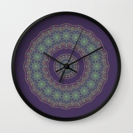 Lotus Mandala in Dark Purple Wall Clock