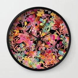 watercolor meadow black Wall Clock