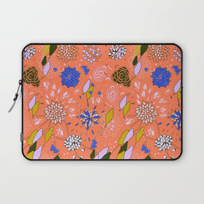 Orange Flower Pattern Laptop Sleeve