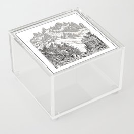 BEYOND MOUNT SHUKSAN BLACK AND WHITE VINTAGE PEN DRAWING Acrylic Box