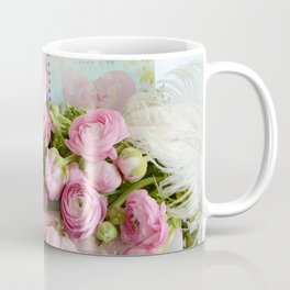 Shabby Chic Cottage Pink Floral Ranunculus Peonies Roses Print Home Decor Coffee Mug
