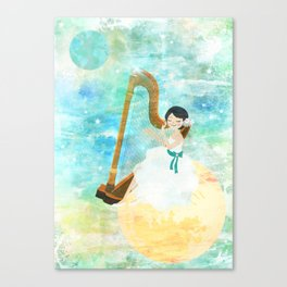 Harp girl: Music from the moon Canvas Print