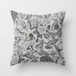 Mystery Garden (grey) Throw Pillow