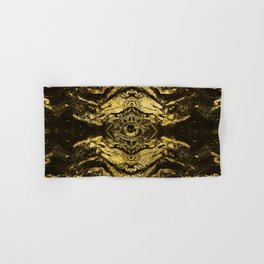All Seeing eye golden texture on aged wood Hand & Bath Towel