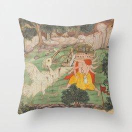 Battle of Ravana and Jatayu - 17th Century Classical Hindu Art Throw Pillow