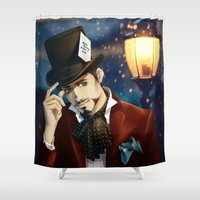 mad hatter Shower Curtains featuring THE MAD HATTER by FISHNONES