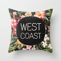 west coast Throw Pillows featuring West Coast by Text Guy