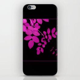 Uber Bright Pink Leaves on Black iPhone Skin