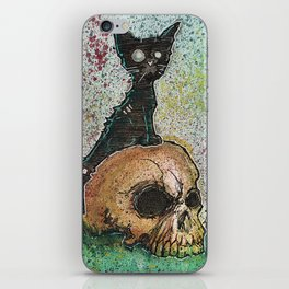 Black Cat with a Skull iPhone Skin