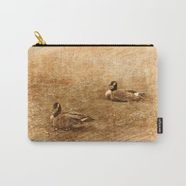 vintage style photography, two ducks on the park grass. Carry-All Pouch