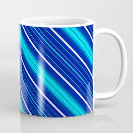 Morn Diagonal Chevron Sripes Shades of Blue Coffee Mug