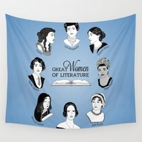 literature Wall Tapestries featuring Great Women of Literature by geeksweetie